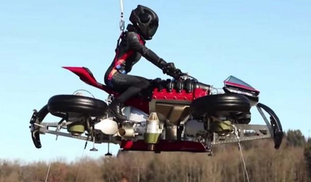 Фантастический летающий мотоцикл прошел первые летные испытания