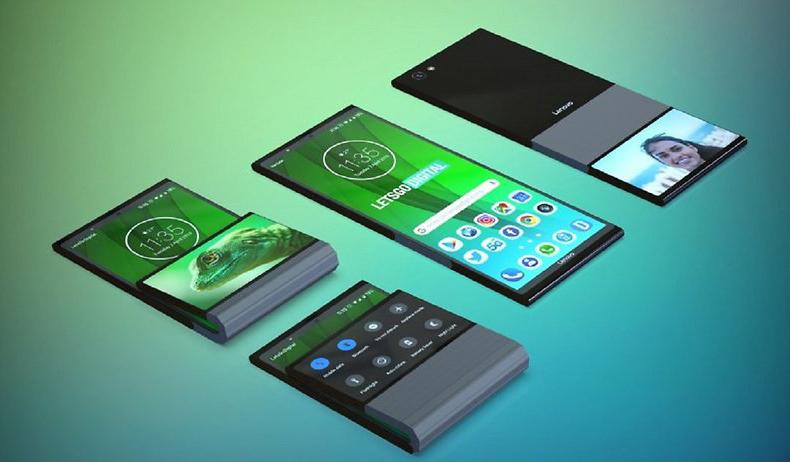Lenovo запатентовала складной смартфон необычной вертикальной конструкции