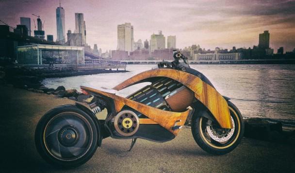 """Разработан футуристический """"умный"""" деревянный электромотоцикл"""