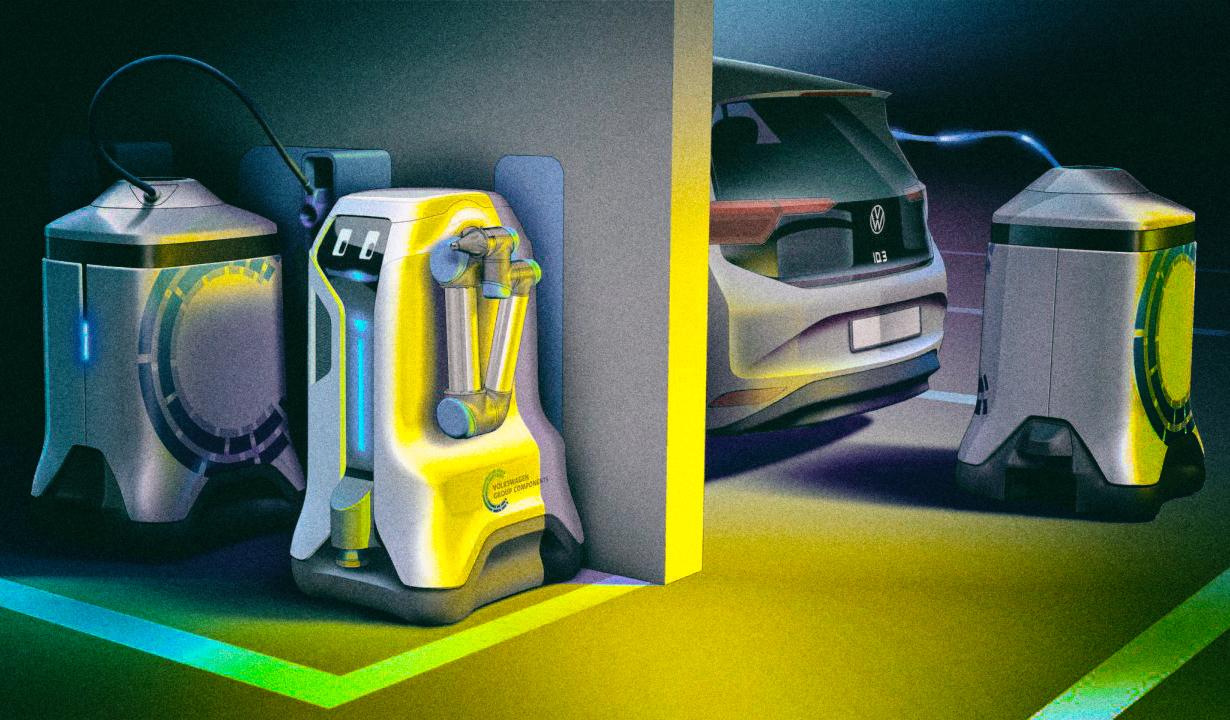 Робот Volkswagen сам ставит электромобили на зарядку