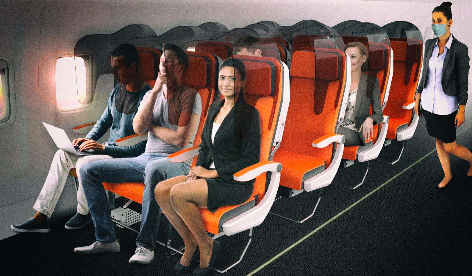 Пассажиров в самолетах предлагают отделить друг от друга перегородками