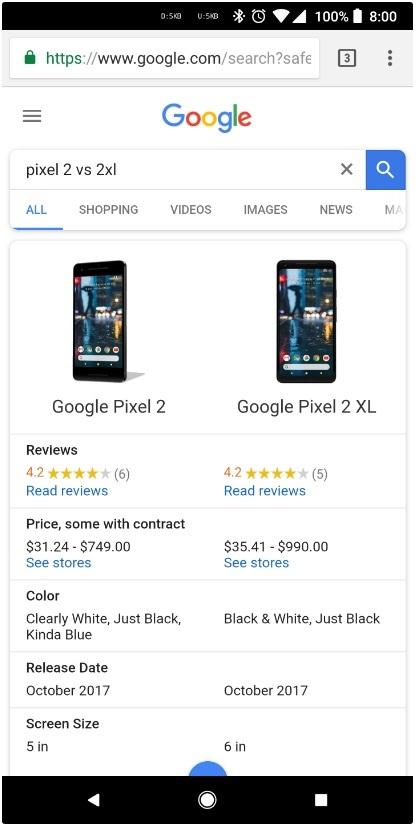 В поиске Google появилась функция сравнения товаров