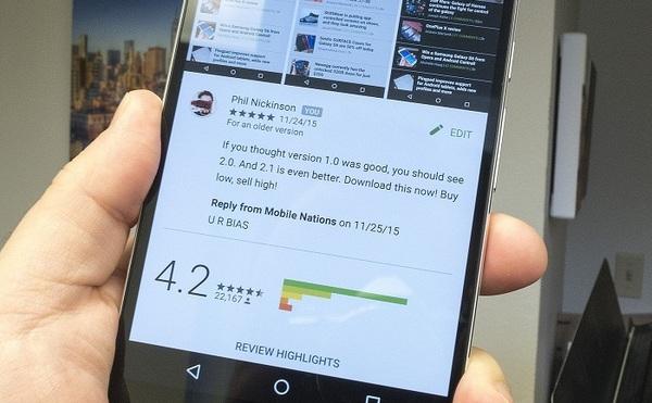 Google Play будет бороться с накруткой оценок приложений