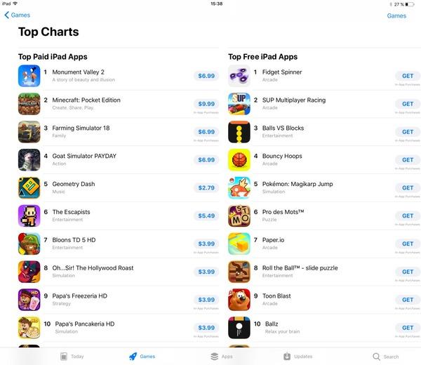 Apple убрала рейтинг кассовых приложений из App Store в iOS 11