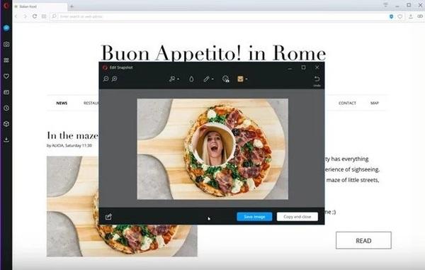 Новая версия Opera позволяет делать селфи и редактировать скриншоты