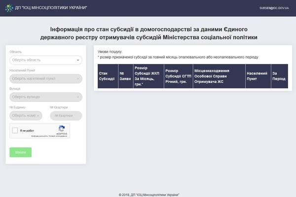 Минсоцполитики Украины открыло доступ к госреестру жилищных субсидий