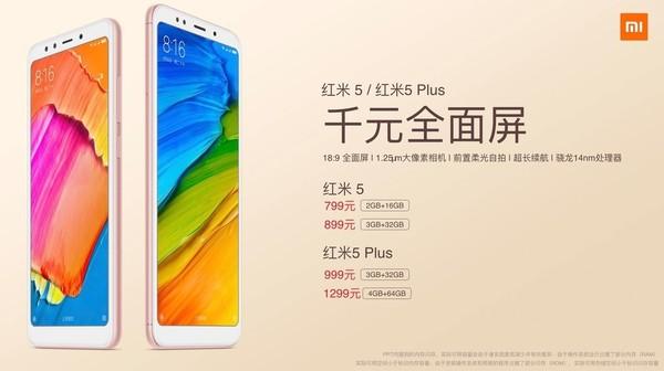 Xiaomi официально представил смартфоны Redmi 5 и Redmi 5 Plus