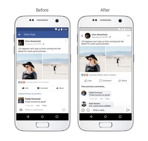 Facebook представил новый дизайн мобильного приложения