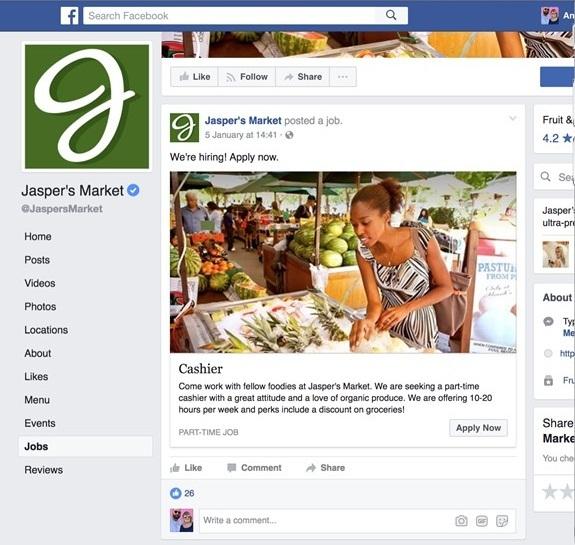 Facebook объявил о запуске сервиса для публикации вакансий